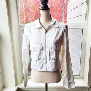 Rubbish White Denim Cropped Jacket | L